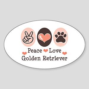 Peace Love Golden Retriever Oval Sticker