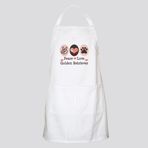 Peace Love Golden Retriever BBQ Apron