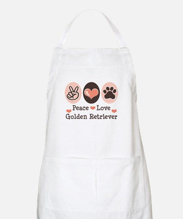 Peace Love Golden Retriever BBQ Apron