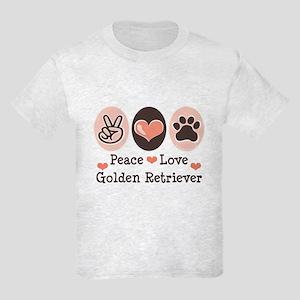 Peace Love Golden Retriever Kids Light T-Shirt