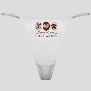 Peace Love Golden Retriever Classic Thong