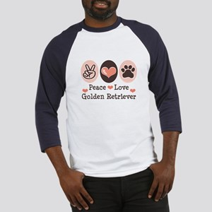 Peace Love Golden Retriever Baseball Jersey