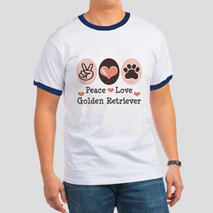 Peace Love Golden Retriever Ringer T