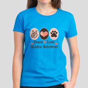 Peace Love Golden Retriever Women's Dark T-Shirt