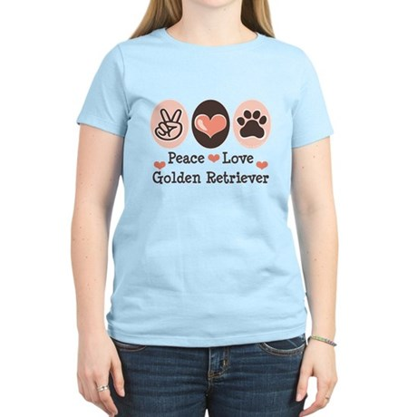 Peace Love Golden Retriever Women's Light T-Shirt