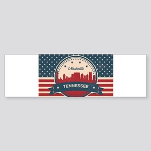 Retro Nashville Tennessee Skyline Bumper Sticker