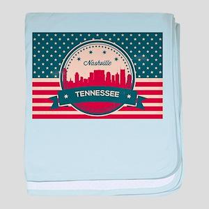 Retro Nashville Tennessee Skyline baby blanket