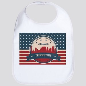 Retro Nashville Tennessee Skyline Baby Bib