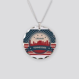 Retro Nashville Tennessee Sk Necklace Circle Charm