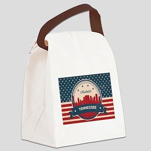 Retro Nashville Tennessee Skyline Canvas Lunch Bag
