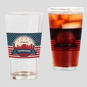Retro Nashville Tennessee Skyline Drinking Glass