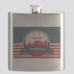 Retro Nashville Tennessee Skyline Flask