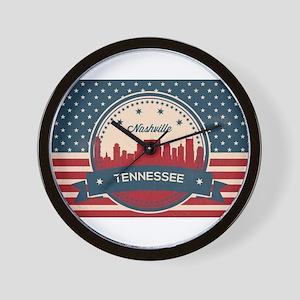 Retro Nashville Tennessee Skyline Wall Clock