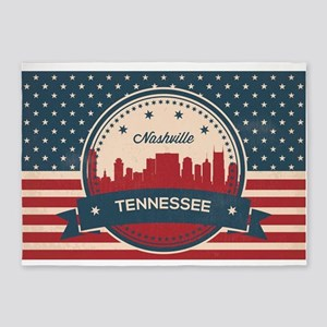 Retro Nashville Tennessee Skyline 5'x7'Area Rug