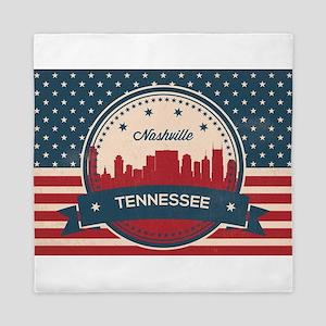 Retro Nashville Tennessee Skyline Queen Duvet