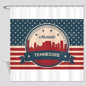 Retro Nashville Tennessee Skyline Shower Curtain