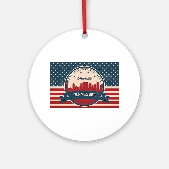 Retro Nashville Tennessee Skyline Round Ornament