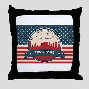 Retro Nashville Tennessee Skyline Throw Pillow
