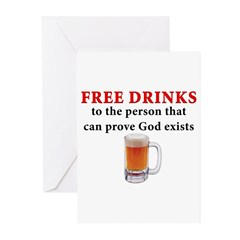Free Drinks Greeting Cards (Pk of 10)