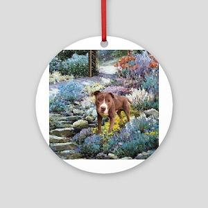 Am. Staffordshire Terrier Art Ornament (Round)