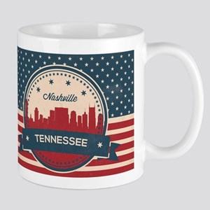 Retro Nashville Tennessee Skyline Mugs