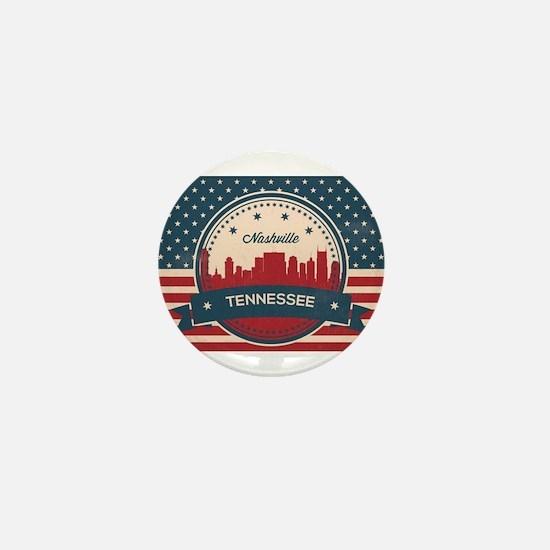 Retro Nashville Tennessee Skyline Mini Button