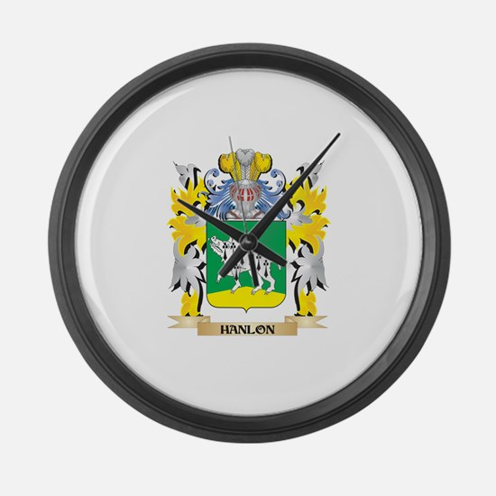 Hanlon Coat of Arms - Family Cres Large Wall Clock