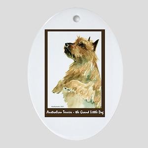 Red Australian Terrier Begging Oval Ornament