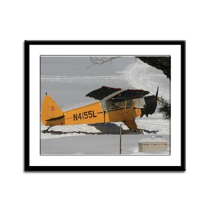 Seaplane In Winter Framed Panel Print