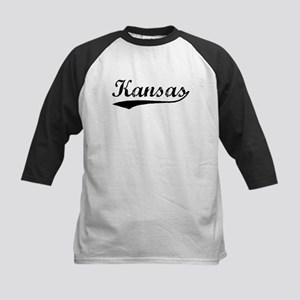 Vintage Kansas (Black) Kids Baseball Jersey