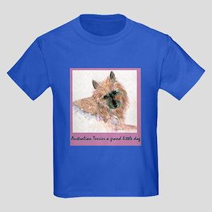 Red Australian Terrier Face Kids Dark T-Shirt