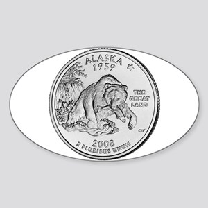 2008 Alaska State Quarter Oval Sticker