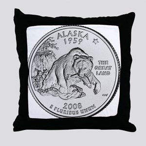2008 Alaska State Quarter Throw Pillow