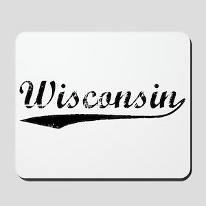 Vintage Wisconsin (Black) Mousepad
