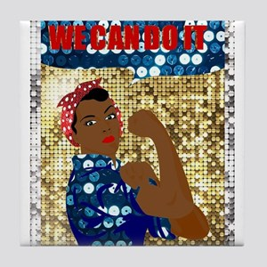 african rosie the riveter Tile Coaster