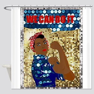 african rosie the riveter Shower Curtain