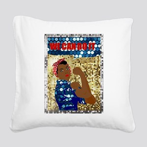 african rosie the riveter Square Canvas Pillow