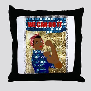 african rosie the riveter Throw Pillow