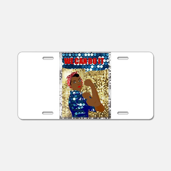 african rosie the riveter Aluminum License Plate