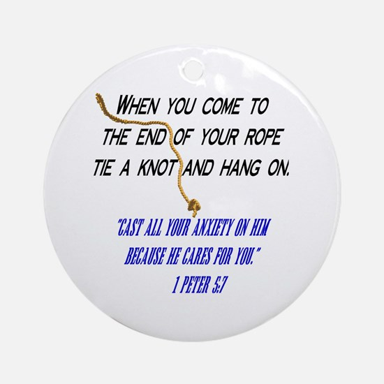 Hang On Spiritual Encouragement Ornament (Round)