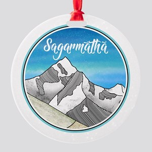Sagarmatha Mt Everest Illustration Round Ornament