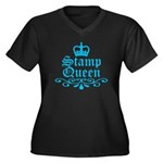 Stamp Queen BL Women's Plus Size V-Neck Dark T-Shi