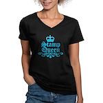 Stamp Queen BL Women's V-Neck Dark T-Shirt