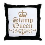 Mocha Stamp Queen Throw Pillow