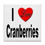 I Love Cranberries Tile Coaster
