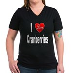 I Love Cranberries (Front) Women's V-Neck Dark T-S