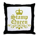 Gold Stamp Queen Throw Pillow