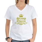 Gold Stamp Queen Women's V-Neck T-Shirt