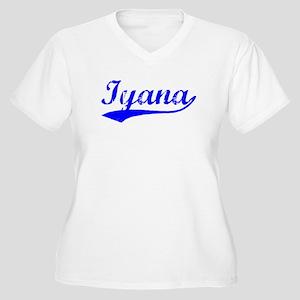 Vintage Iyana (Blue) Women's Plus Size V-Neck T-Sh