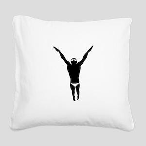 Swimming Square Canvas Pillow